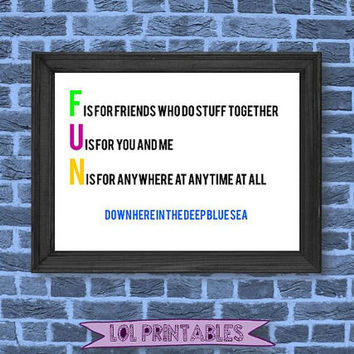 Printable kids quote spongebob wall art decor funny song room decoration