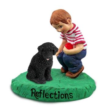PORTUGUESE WATER DOG REFLECTIONS W/BOY FIGURINE
