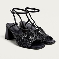 UO Helena Woven Block Heel Sandals | Urban Outfitters