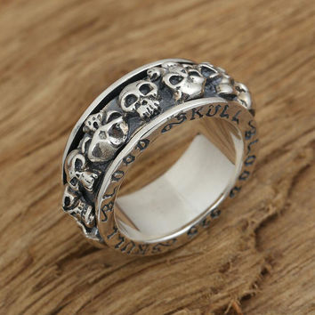 2016 new arrival Scripture personality skull ring rotation real men 925 sterling silver 925 jewelry for men wedding rings GY66