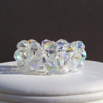 Aurora Borealis Clear Crystal Stretch Napkin Rings (set of 8)