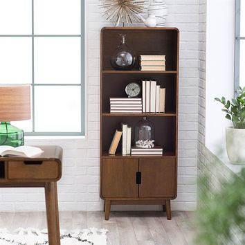 Modern Classic Mid-Century Style Bookcase Cabinet in Wallnut Wood Finish