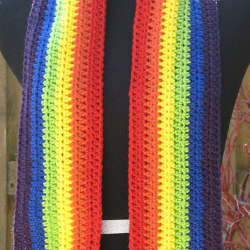 READY TO SHIP Pot o' Gold Rainbow Scarf, St. Patrick's Day Scarf, Luck o' the Irish Accessory, Perfect for Parades, Parties, Costumes, Bars