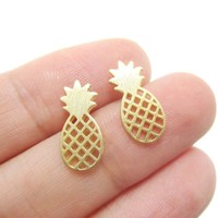 Brushed Pineapple Stud Earrings