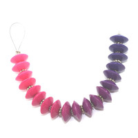 Pinks and purple elegant Ombre lentil beads, polymer Clay beads, unique beads in gradual transformation from pink to purple, set of 19