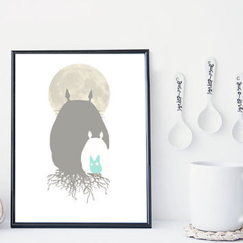Totoro art print, totoro wall art, miyazaki print, home wall decor, wall art, totoro illustration, studio ghibli, apartment decor, gift