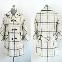 Mod Wool Coat Jacket / Double Breasted Black and White Tweed / Vintage Mid Century Outerwear