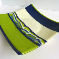 Fused Glass Plate in Dark Cobalt, French Vanilla and Spring Green