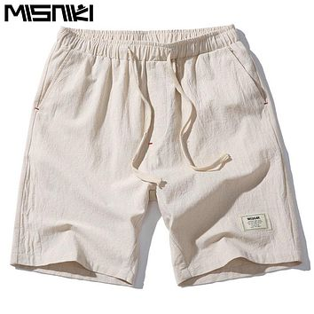 MISNIKI 2017 Hot Fashion Men Short Pants Summer Linen Men Shorts (Asian Size)