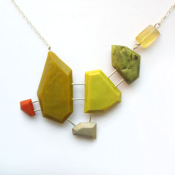 Green color block necklace, genuine fluorite jewelry, sterling silver, one of a kind necklace, gemstone necklace, yellow green necklace