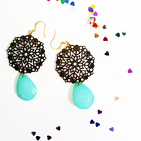 Hanging earrings - Dark gold and Turquoise, Big unique earrings, Contemporary earrings, Romantic earrings, Pretty stylish earrings