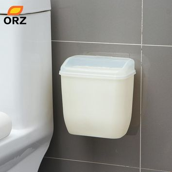 ORZ Storage Box Waste Can Wall Mount Bins With Cover Creative Wall Magic Sticker Bathroom Kitchen Toilet Waste Bins Plastic Box