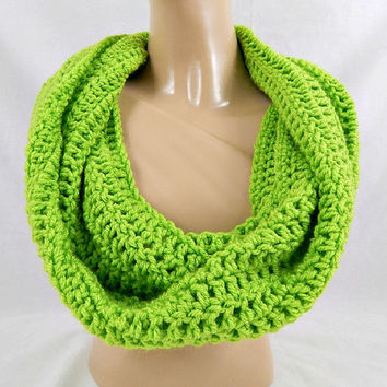 Lime Green Infinity Scarf Womens Crochet Cowl Knit Circle Scarf Fall and Winter Neckwarmer