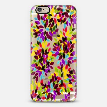 DAHLIA DOTS 6 - Colorful Rainbow Yellow Purple Aqua Red Green Black Polka Dots Floral Abstract Watercolor Flowers Painting Pattern Fine Art Whimsical Transparent Multicolor Garden Blooms iPhone 6 case by Ebi Emporium   Casetify