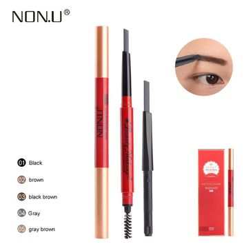 NONU Double-end Automatic Eyebrow Pencil With Brush +One Replace Refill Long Lasting Durable Eyebrow Stencil Makeup Tool Kit