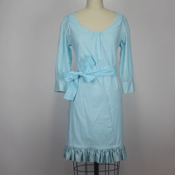 Anthropologie Cynthia Rowley Cotton Blue Shift Dress Silk Ruffle Size Small