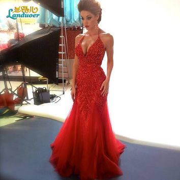 Gorgeous Red Deep Halter Beads  Mermaid Prom Dresses 2016 Off The Shoulder Evening Gown Sheer Backless robe de soiree Vestido