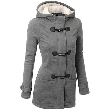 Long hooded zipper trench coat with pretty frog closure ~ Plus size available