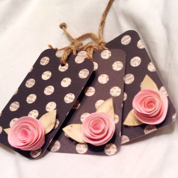 Gift tags. Fall gift tags. Wedding gift tags. Place cards. paper tags. Christmas gift tags. Polka dots. Pink roses.