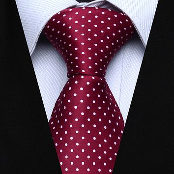 Burgundy Polka Dot Necktie Pocket Square Tie