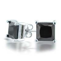 Bling Jewelry Mens Sterling Silver CZ Princess Cut Black Stud Earrings 7mm