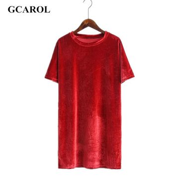 Women Velvet Long T-shirt O-Neck Straight Cutting Smooth Tees High Quality  Oversize Casual Basic Tops For Ladies