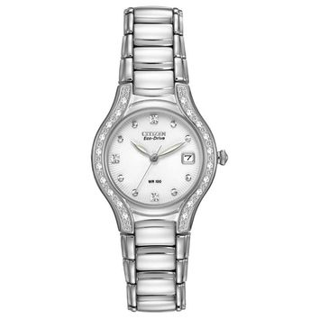 Ladies' Citizen Eco-Drive™ Modena Watch with Silver Dial (Model: EW0970-51B)