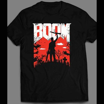 "EVIL DEAD ""BOOM"" RETRO GAME PARODY HALLOWEEN T-SHIRT"