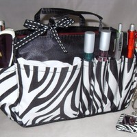 "Jolie Zebra Print and Black Handbag Organizer Insert Travel Cosmetic Make-Up Bag Tote Dimensions: L 7.5""x H 6""x W 3.5"""