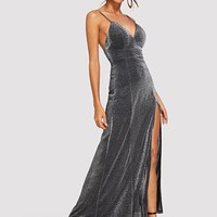 Split Gitter Cami Maxi Dress
