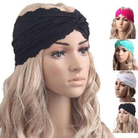 Fashion Women Headwear Twist Sport Yoga Lace Headband Turban Headscarf Wrap Modern (Color:Rose,Green,White,Black) [8069652359]