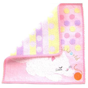 Adorable Kitty Cat and Ball of Yarn Polka Dotted Handkerchief Face Towel in Pink | Japan