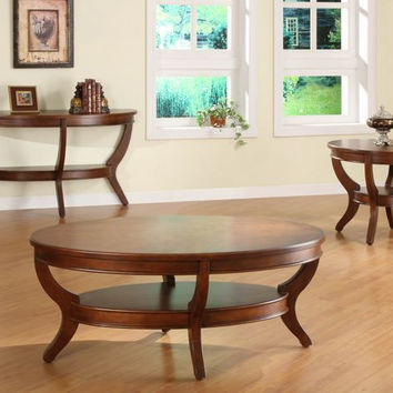 He-1205-30 Avalon Collection Oval Cocktail Table, Wood Top