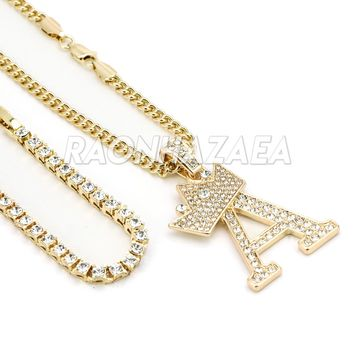 Iced Out Crown A Initial Pendant Necklace Set