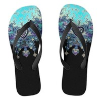 Celtic Heart Fractal Decor Flip Flops
