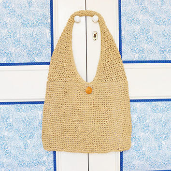 linen shoulder bag, crochet bag, linen bag, summer bag, women's gift,