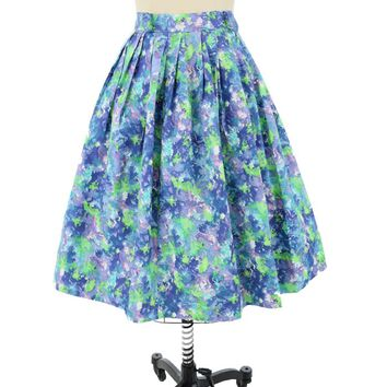 50s Painterly Floral Full Midi Skirt