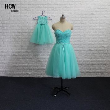 Mother And Daughter Dresses 2018 Mint Green Pearls Tulle Short Prom Dress Vestido De Festa Cheap Mother And Daughter Gowns