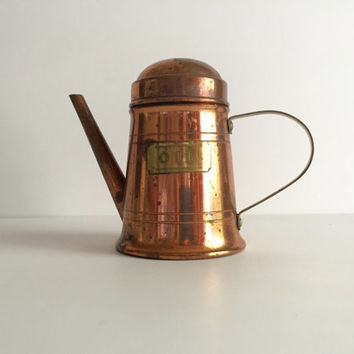 Vintage Copper Oil Kettle Watering Pitcher Aged Patina with brass handle