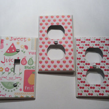 Fruit Cocktail - Strawberry, Cherry, Summer Fruit Light Switch and Outlet Covers - set of 3