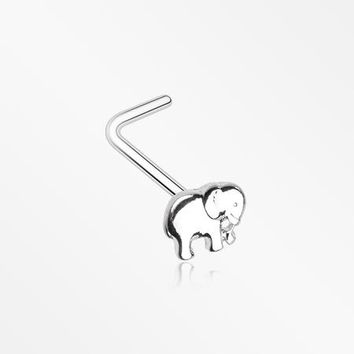Adorable Baby Elephant L-Shaped Nose Ring