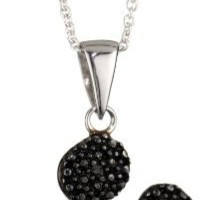 Disney Girls' Black and White Mickey Pendant Necklace