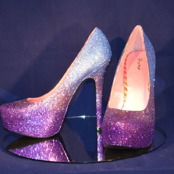 Shop Purple Glitter Heels on Wanelo
