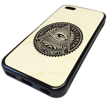 For Apple iPhone 5C REAL MAPLE WOOD WOODEN Case Cover Skin iLLuminati Symbol Logo DESIGN BLACK RUBBER SILICONE Teen UNIQUE CUSTOM Gift Vintage Hipster Fashion Design Art Print Cell Phone Accessories