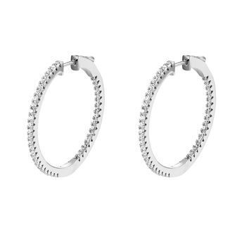 14k White Gold Finish Sterling Silver Micro Pave Elegant Hoop Earrings Iced Out
