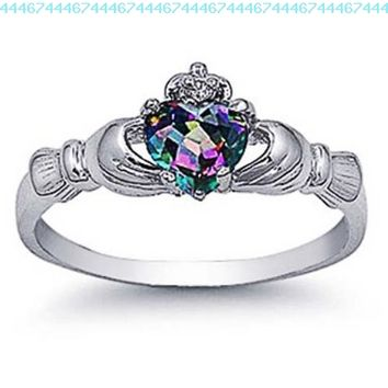 Rhodium Plated Sterling Silver Wedding & Engagement Ring Rainbow Topaz CZ Claddagh Ring 9MM ( Size 3 to 10):Amazon:Jewelry