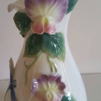 GRAFF Porcelain stunning handpainted vase raised relief flowers/gift/ships worldwide from UK perfect