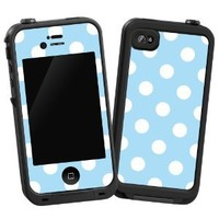 "White Polkadot on Baby Blue ""Protective Decal Skin"" for LifeProof iPhone 4/4S..."