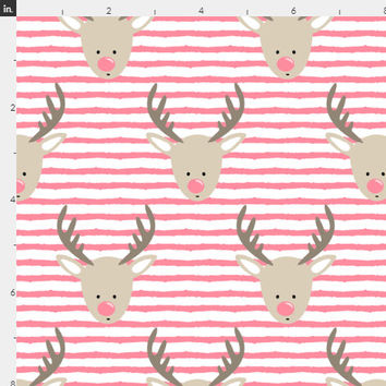 Pink Rudolph Reindeer Fabric by the Yard Cotton Baby Girl Christmas Fabric Rudolf Holiday Fabrics Cotton Fabric by the Yard 6801542