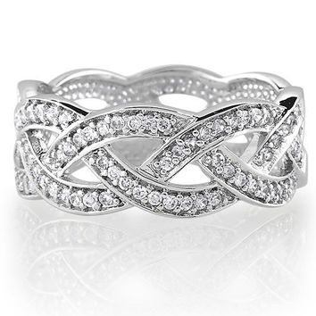 Sterling Silver Cubic Zirconia CZ Accent Woven Design Band Ring #r134
